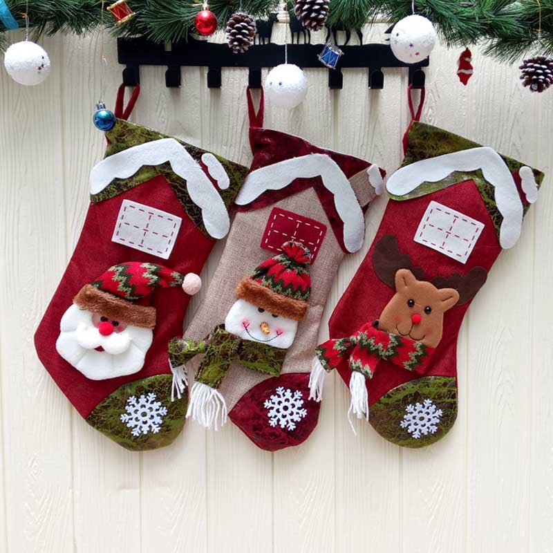 Christmas Stocking Socks Christmas Tree Hanging Xmas Decoration Gift Bag