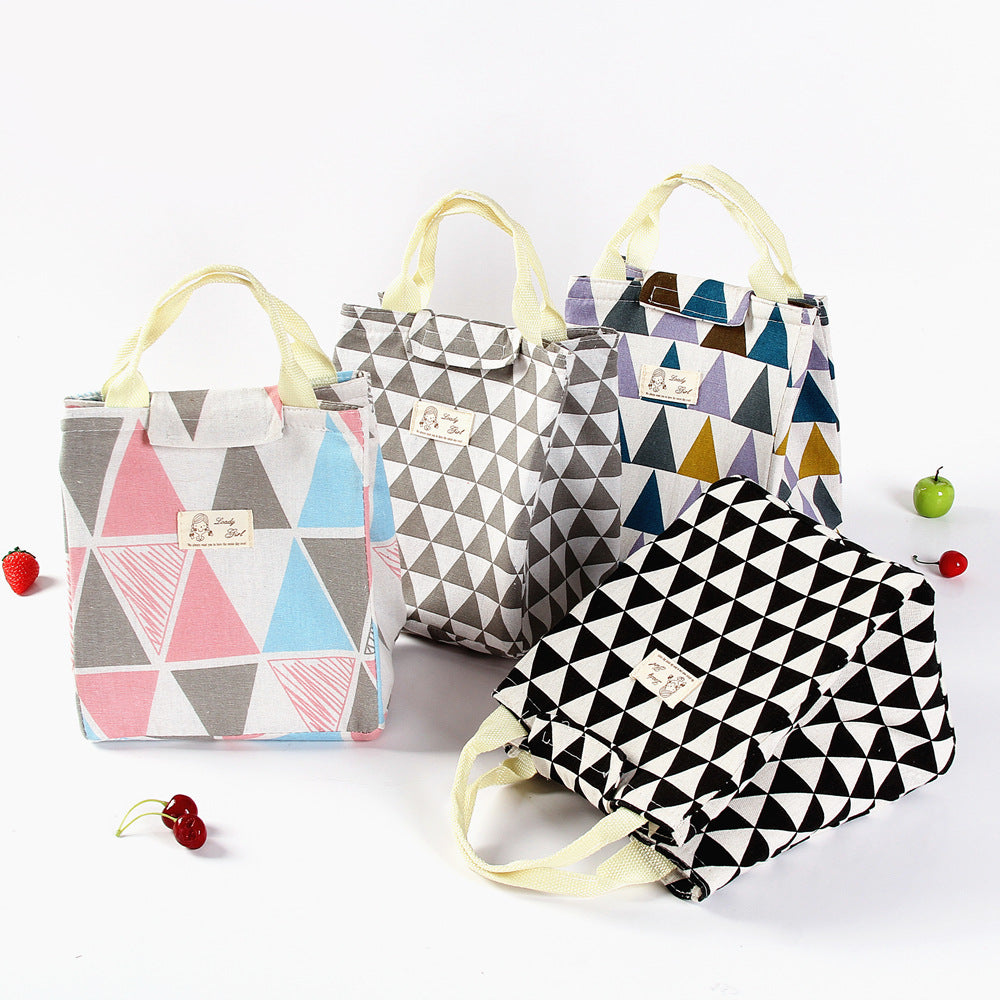 Cotton and Hemp Triangle Design Lunch Bag