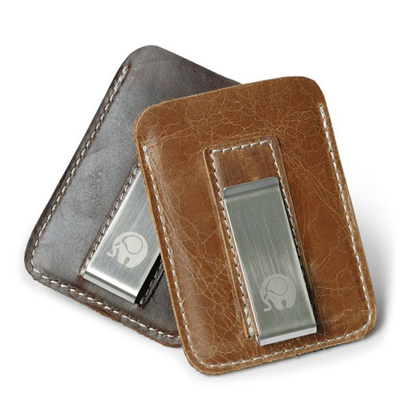 Vintage Genuine Leather Card Holder Wallet Cash Clip For Men Women