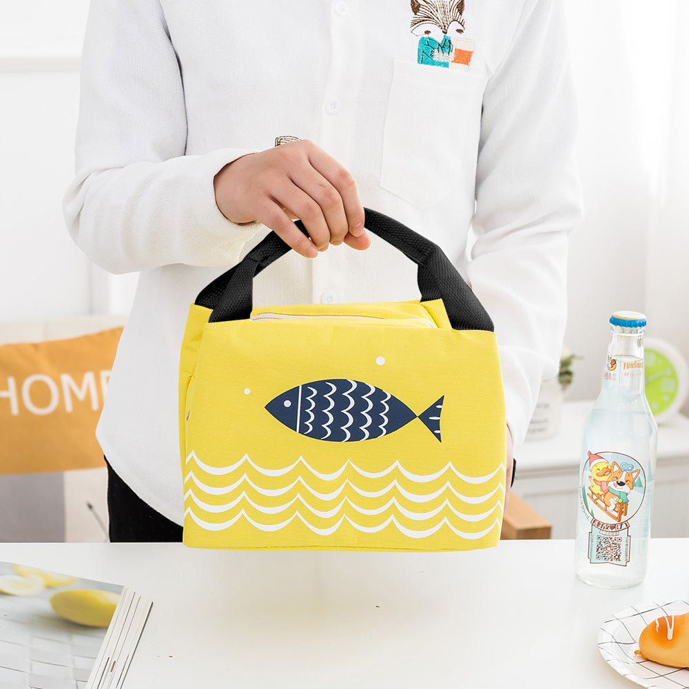 Portable Lunch Tote Bag Picnic Bag Cooler Insulated Handbag Zipper Storage Containers Fish Pattern