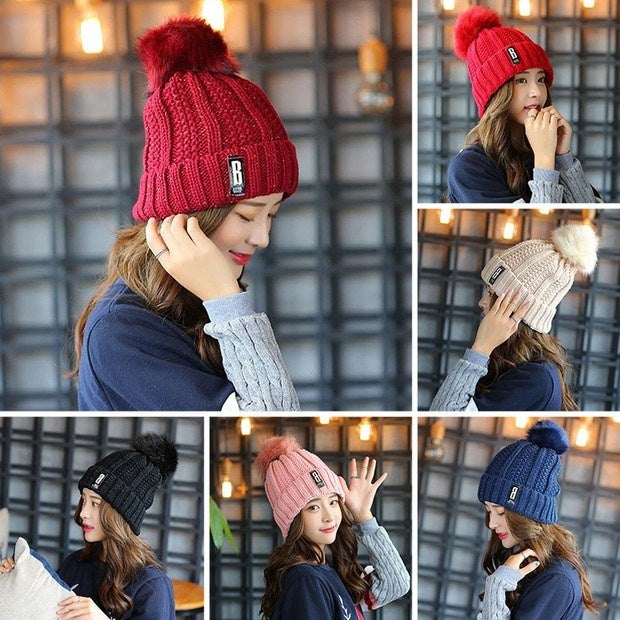 2019 Winter Knitted Hat Charm Women Adjustable Soft Beanies Caps Outdoor Sport Hats