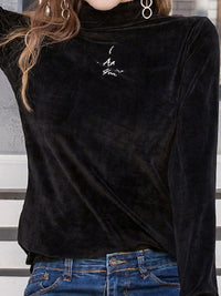 Plus Size Plain Velvet Embroidered Long Sleeve Casual Tops