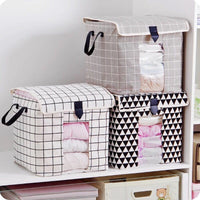 Cotton and linen visual clothes storage box