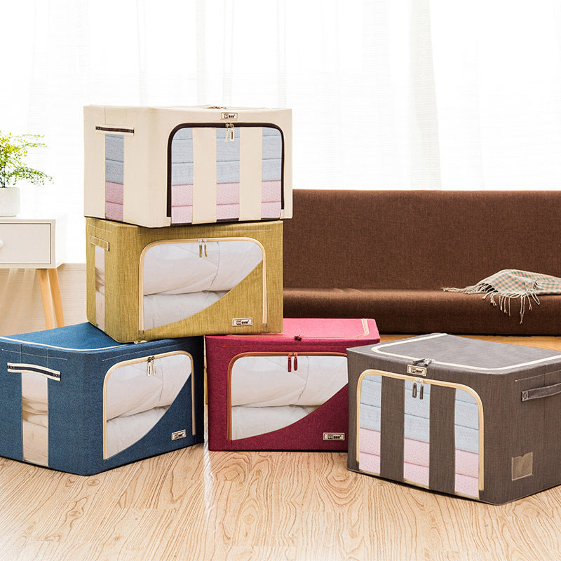 66L Durable Storage Box for Clothes Quilts Toys Steel Structure Oxford Clothes