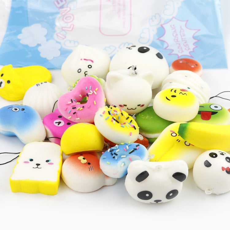 Squishy Slow Rising, TopRay 30pcs Random Kawaii Squishies Mini Soft Foods Panda Bread Bun Toasts Multi Donuts Phone Straps Charm Kids Toy Gift