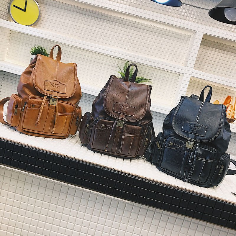 Women Men PU Leather Vintage Shoulder Bag School Bag Backpack