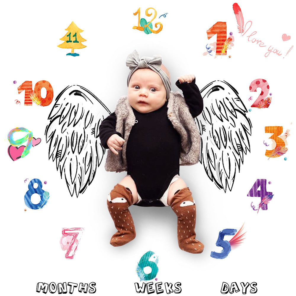 Colorful Number Letter Angel Wing Pattern Baby Blanket for Photo Shoot 100cm x 100cm