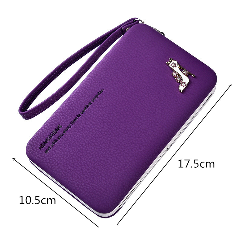 Women's Purse Long Solid Color Leather Mobile Phone Bag