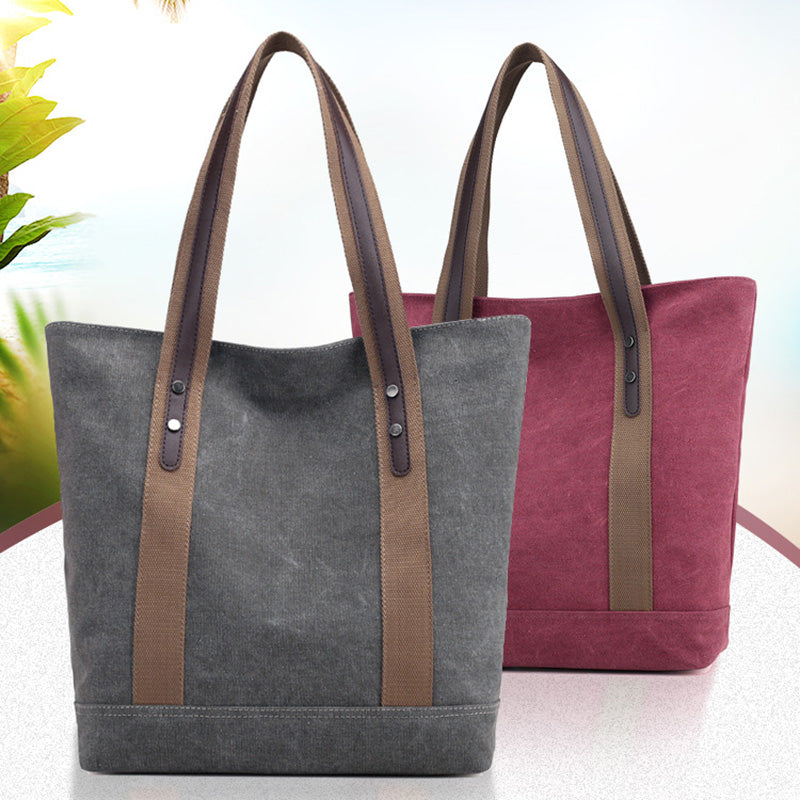 Casual High Capacity Canvas Tote Bag Shoulder Bag For Women