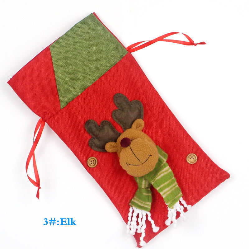 Christmas Decorations Santa Claus Snowman Elk Bags Red Wine Tableware Candy Bag Decorative Items