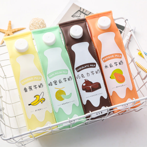 Creative Fruit Banana Milk Box Shape Student Pencil Case