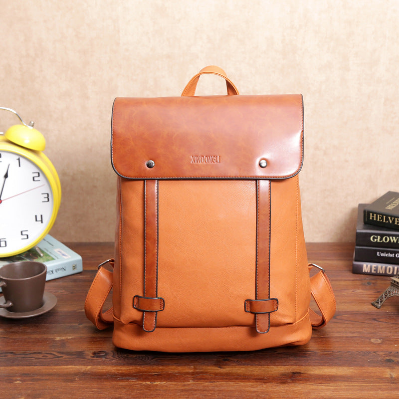 Men Women Vintage Outdoor Travel Backpack PU Leather 14 inch Laptop bags School Bag Shoulder Bags