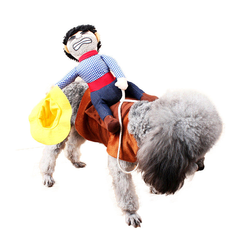 Pet Dog Novelty Funny Riding Horse Cowboy Halloween Party Costume Clothing