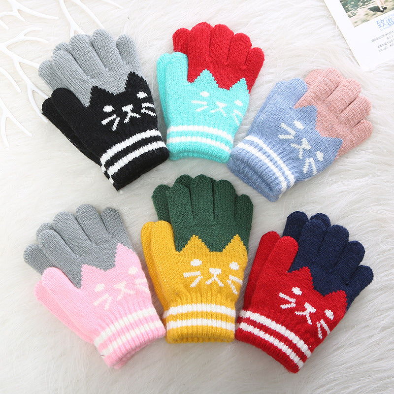 1Pair Winter Children's Lovely Kitten Expression Cashmere Warm Gloves for 4-8Y
