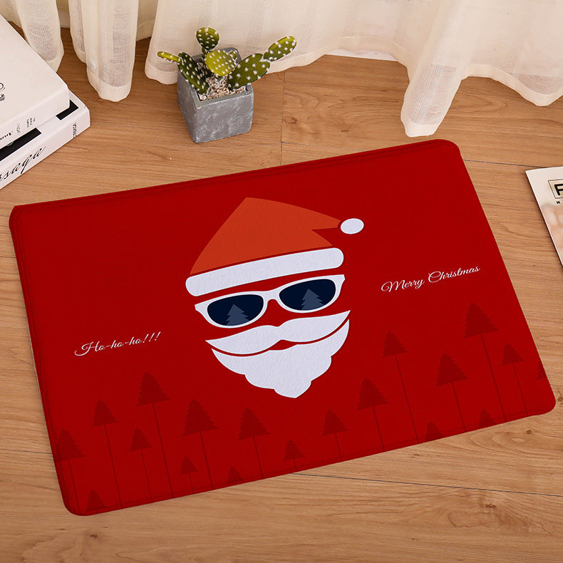 Christmas Style Doormat Floor Mat  Non-Slip Santa Claus Kitchen Bathroom Carpet