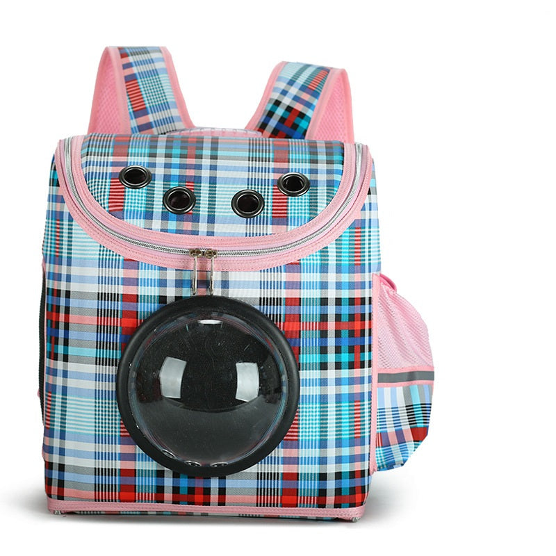 Plaid Pattern Transparent Window Design Cover Breathable Pet Travel Storage Bag Cat Dog Carrier Space Backpack