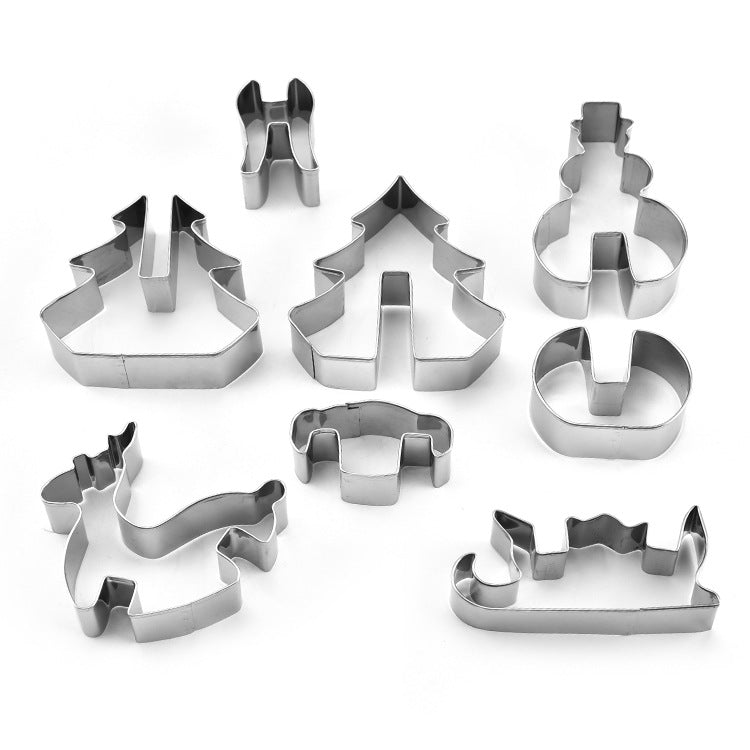 8pcs Stainless Steel Cake Biscuit Moulds Cookie Cutter Fondant Icing Mold DIY Baking Tools