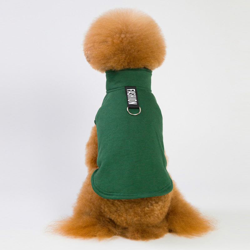 Autumn and Winter New Pet Clothes Fleece Dog Sweater Two Legs Solid Color Vest Teddy Dog Coat