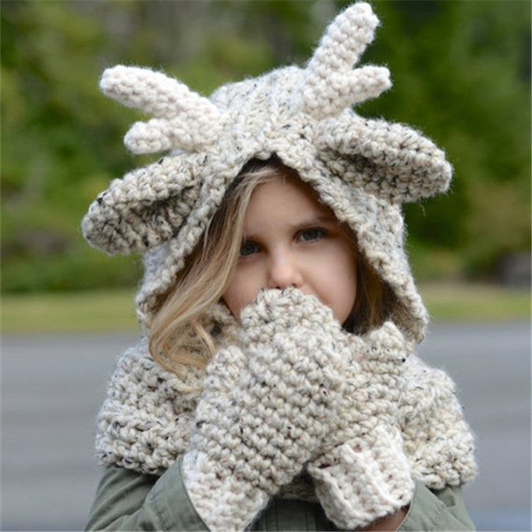 Winter Kids Warm Cute Elk Hat Knitted Hood Scarf Beanies For Autumn Winter