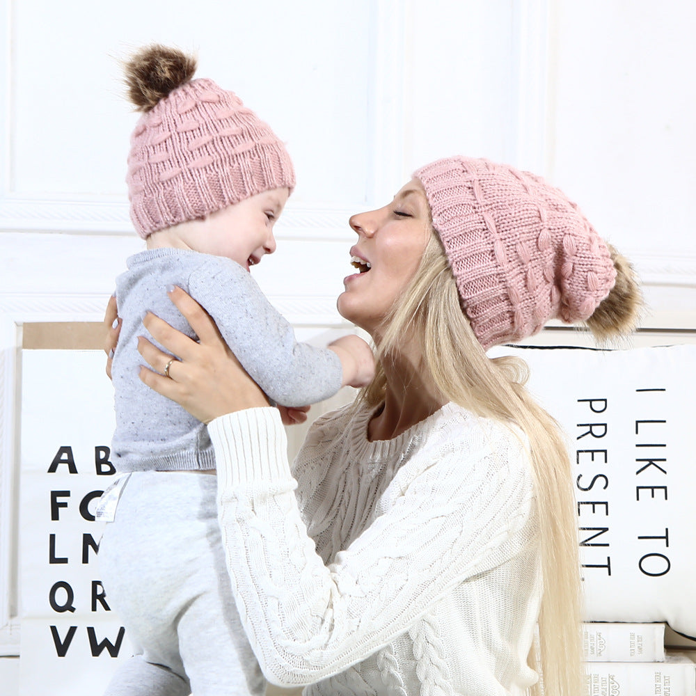 Lovely Mom&Newborn Baby Boys Girls Winter Warm Knit Caps Fur Hat Parent Child Crochet Cap