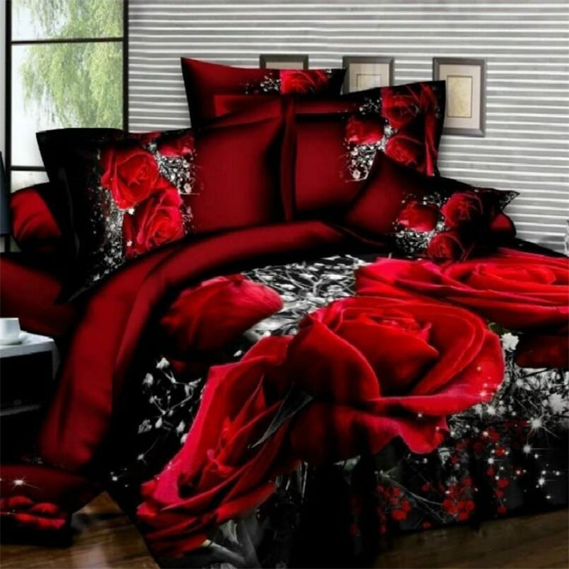 Duvet Cover Set 3D Oil Painting Bed 2/3/4pcs Bedding Sets Queen/Twin Size Bedding Set Comforter Bag Duvet Cover Size Queen Color Red