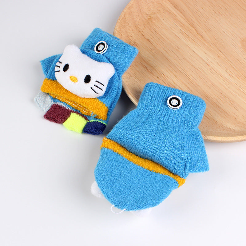 1 Pair Winter Children's Cute Kitty Half Finger Flip Warm Gloves for 1-3Y Baby Boys Girls