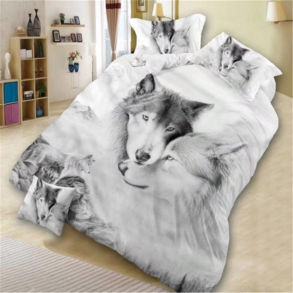 New design 3D bedding 3D wolves, bedspread pillows, King Queen 3pcs (excluding quilts and pillows)