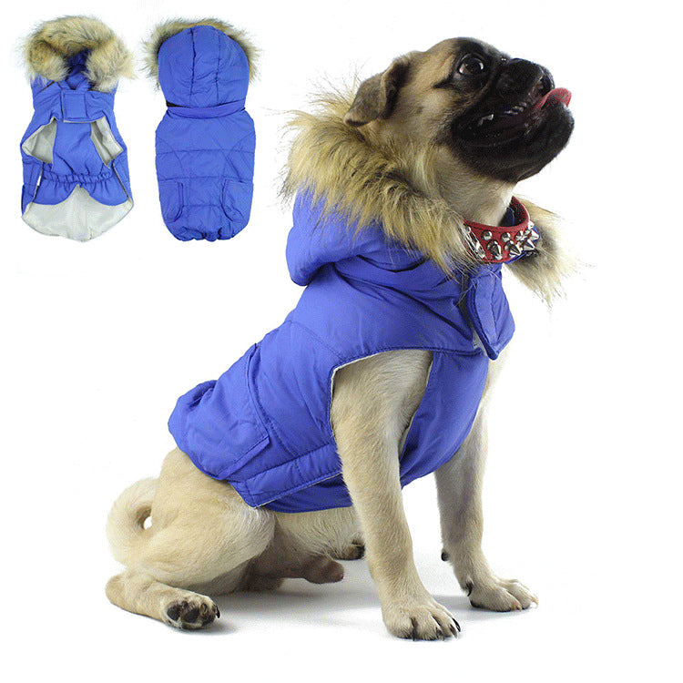 Pet Clothes Autumn and Winter Models Puppy Pet Warm Coat Hooded Fur Collar Coat Winter Dog Clothes
