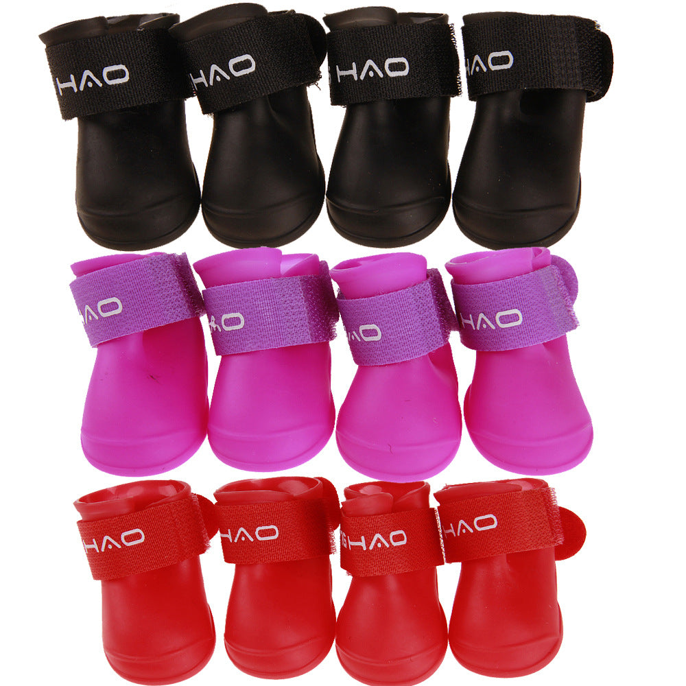 4PCS Fashion Pet Dog Rainshoes Waterproof Rubber Pet Rain Booties