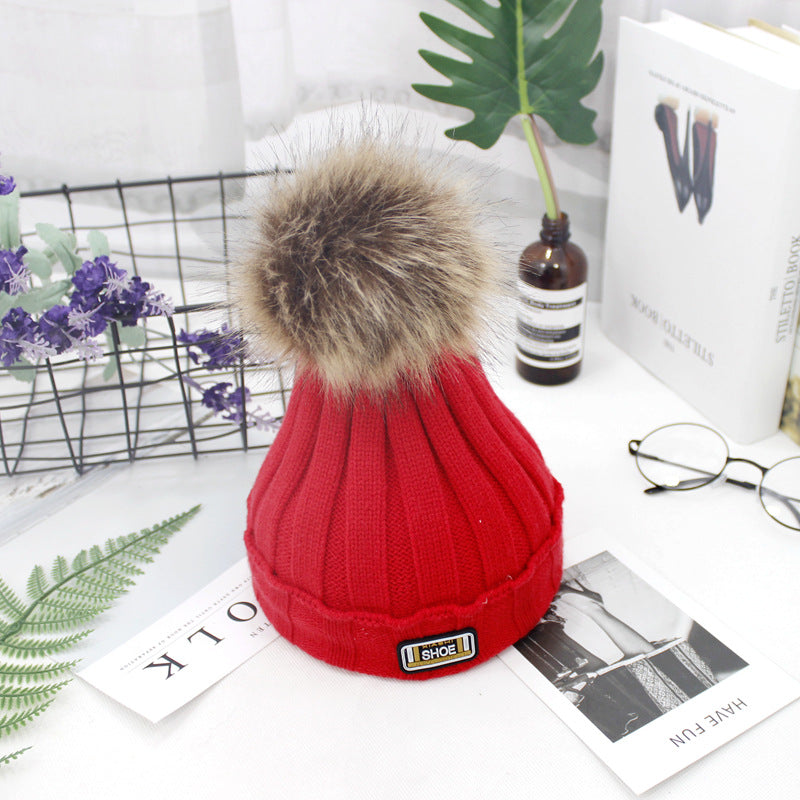 Cute Winter Warmer Girls Boys Pompom Ball Wool Fur Kids Cap Baby Knitted Hat