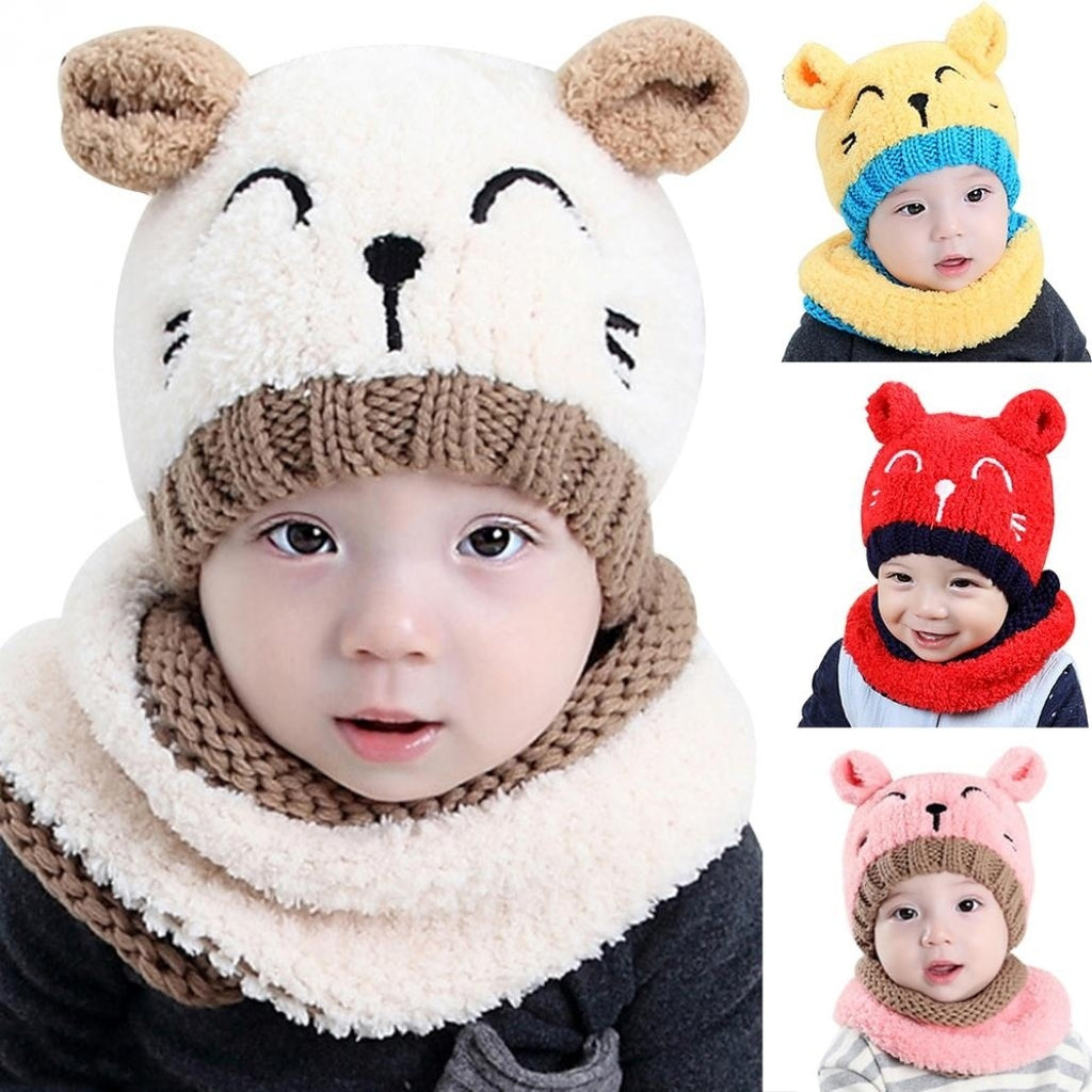Baby Toddler Cute Hat Autumn Winter Warm Round Hat Beanie Cap + Scarf Set