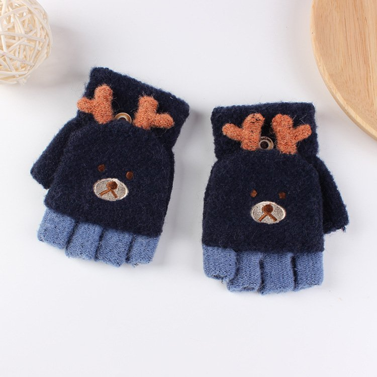 1 Pair Winter Children's Cute Cartoon Knitted Elk Half Finger Flip Warm Gloves for 5-9Y Baby Boys Girls