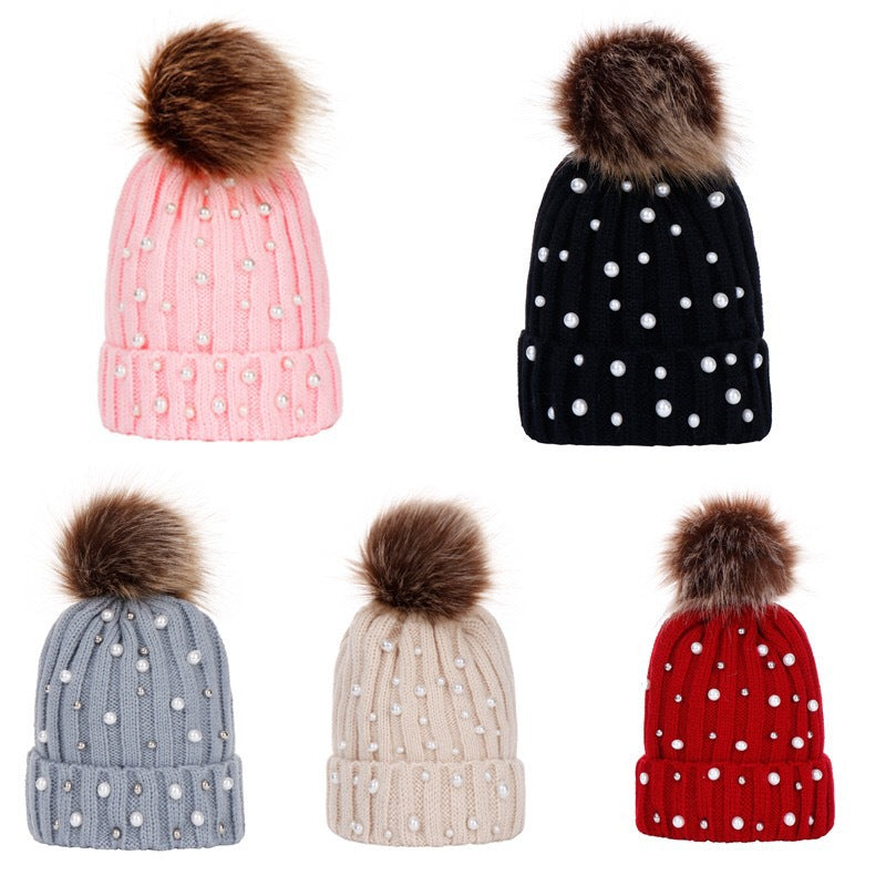 Toddler Kids Girl&Boy Baby Infant Winter Warm Pearl Crochet Knit Hat Beanie Cap
