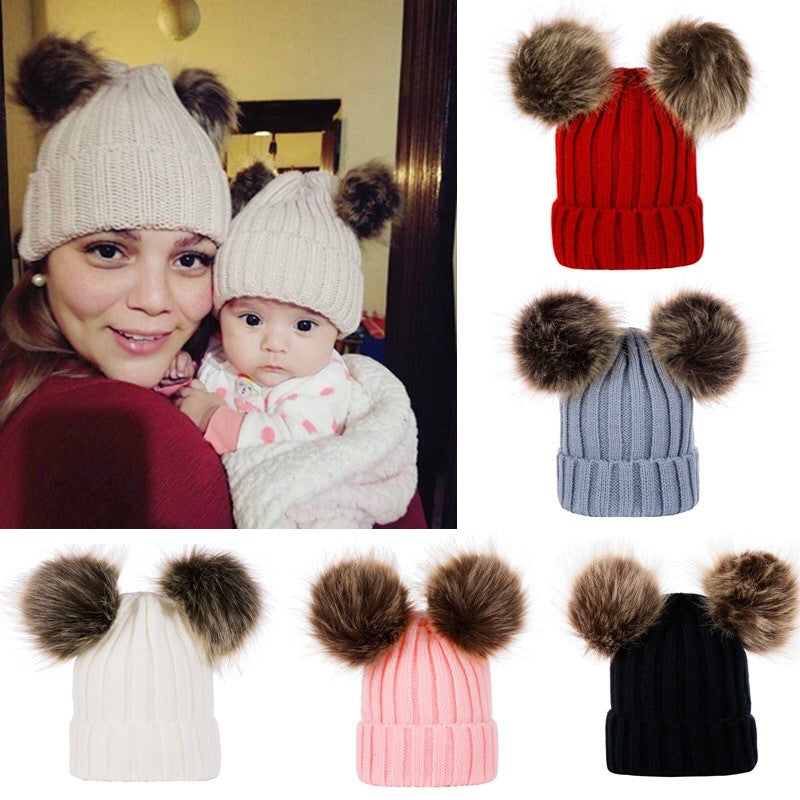 2 Pieces/Set  Fashion Hot Sales Toddler Mom and Baby Double Fur Winter Casual Warm Cute Hat Knitted Beanie Hats Cap
