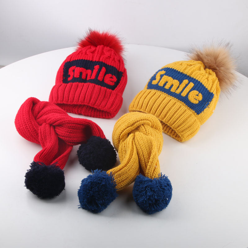 2 Pieces/Sets Baby Boys Girls Winter Warm Windproof Earmuffs Plus Velvet Head Wool Hat Scarf
