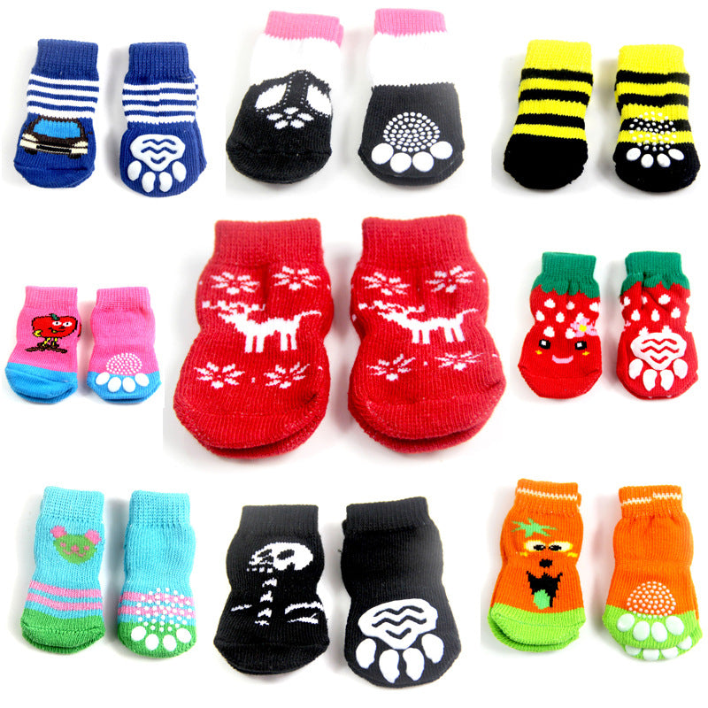 4 Pcs/ Set Dog Sock Cute Puppy Dogs Anti Slip Skid Bottom Socks
