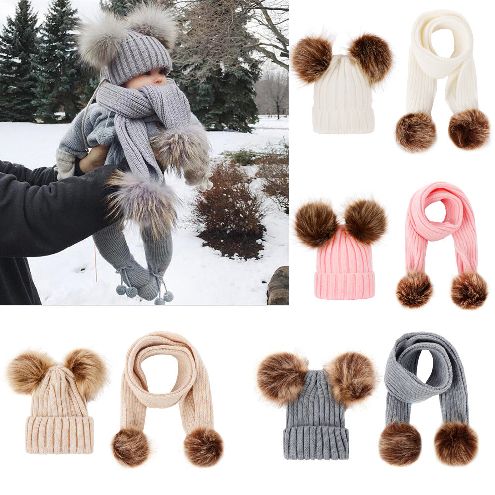 5 Colors Double Ball Fur Pom Knitted Beanie Cap Baby Boy Girls Winter Warm Wool Hat and Scarf Sets