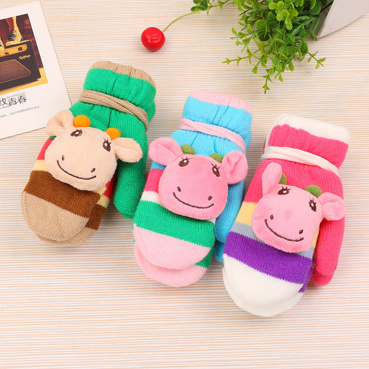 1 Pair Winter Children's Cute Cartoon Knitted Calf Half Finger Flip Warm Gloves for 2-7Y Baby Boys Girls