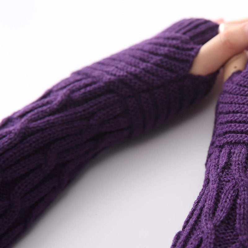 Arm Warmers New Women's Autumn Fashion knitted Ankle long Arm Warmer wool fingerless glove Half Sleeves
