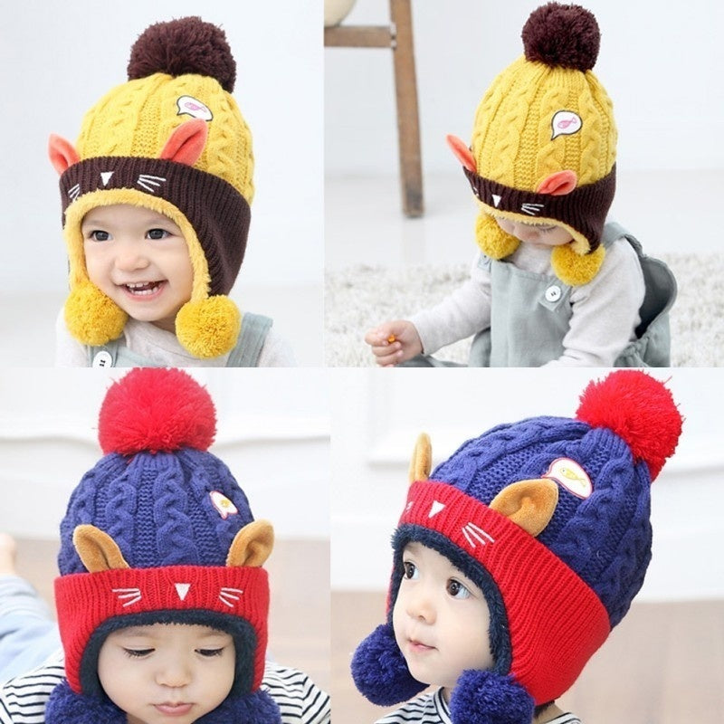 New Baby Boys Girls Woolen Hat Winter Warm Baby Hats Cartoon Printed Children Caps