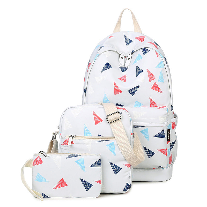 3PCS Women Casual Canvas Printed Zipper Travel Backpacks for Teenager