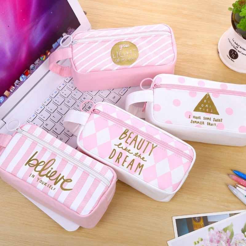 Pen Bag Letter Dot Stripe Canvas Pencil Case Stationery School Supplies Pen Box Pink