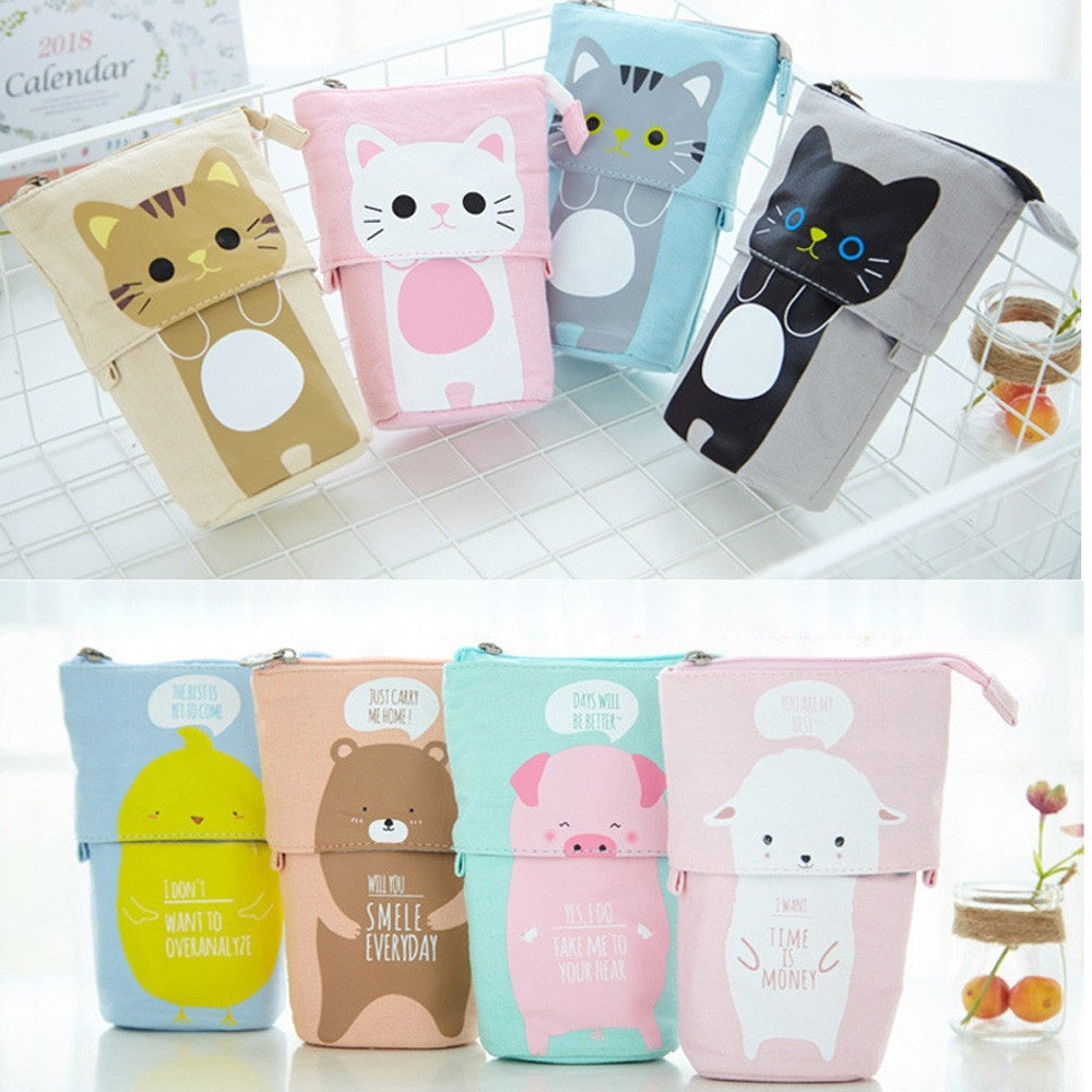 1PC Store Pencil Case Box Cartoon Cute Cat Telescopic Pencil Bag Stationery Box