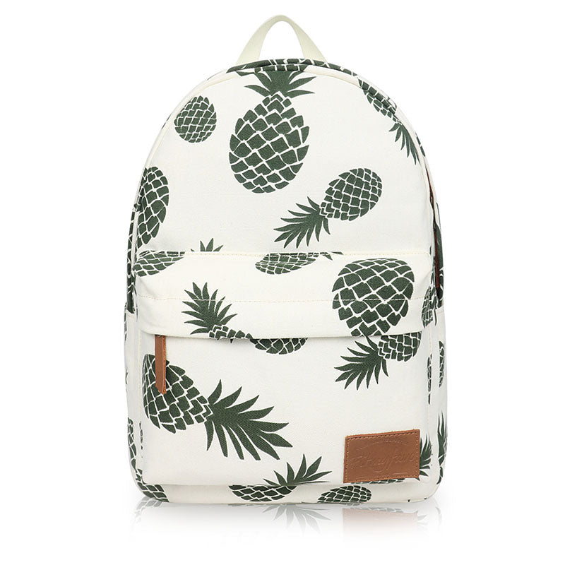 Women Printed Pineapple Casual Canvas Zipper Backpacks for Teenager