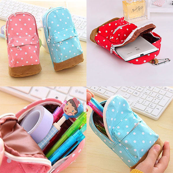 Mini Cute School Bags Multifunctional Canvas Stationery Bag Purse