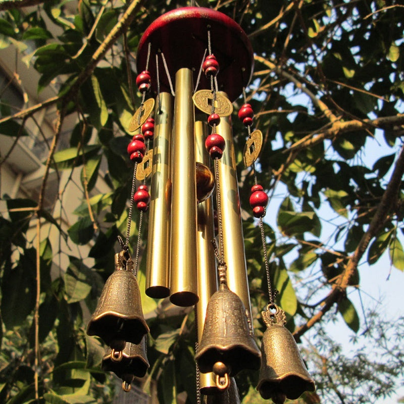 Magic 4 Tubes 5 Bells Copper Yard Garden Outdoor Living Wind Chimes 65cm