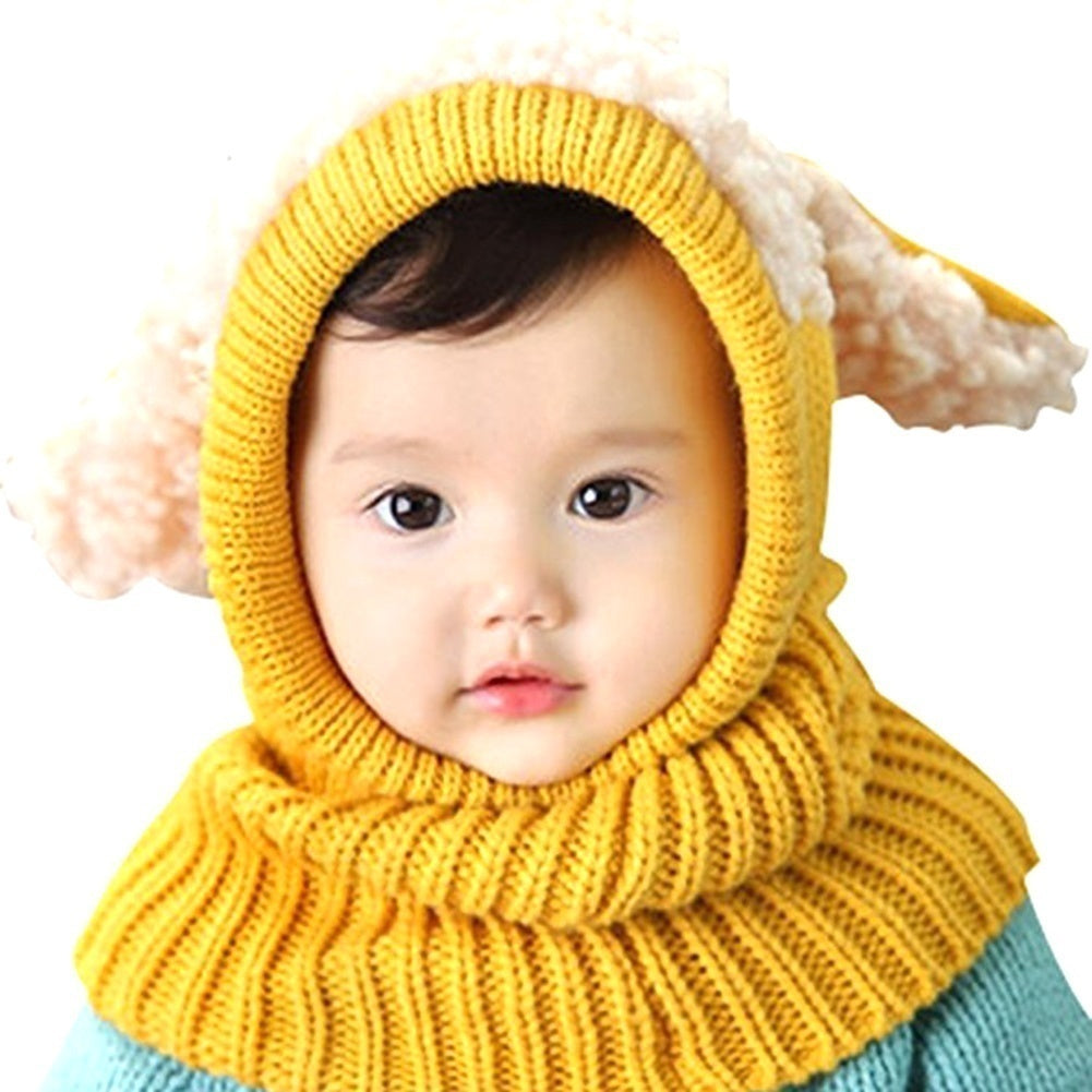 Children Cute Knitted Hat Cloak Scarf Trendy Earflap Bunny Ears Sleeve Cap Earflap Cap Kids Winter Warmer