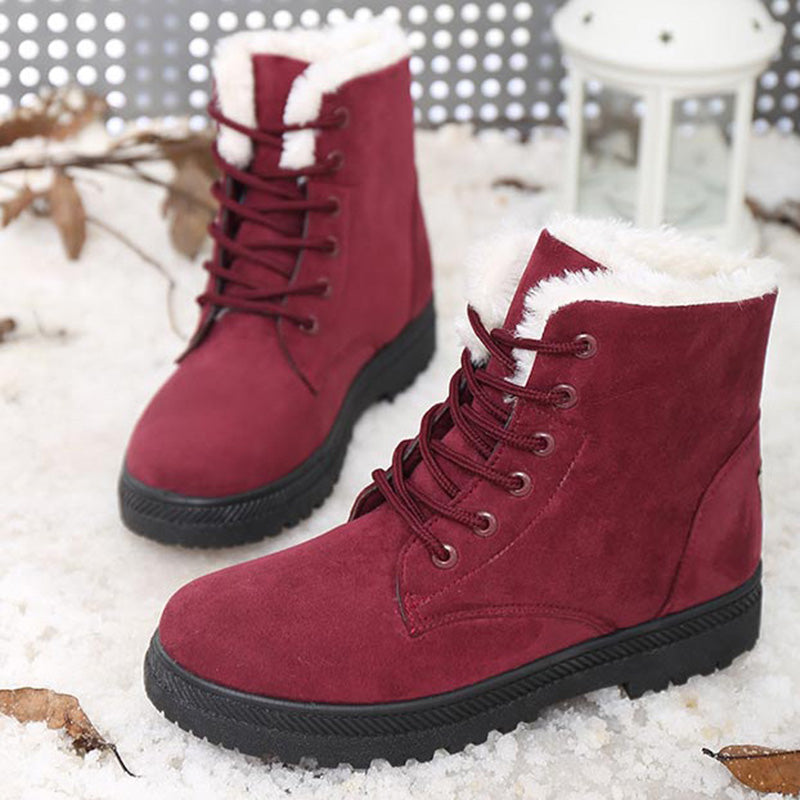 Women's Lace-Up Round Toe Ankle Boots
