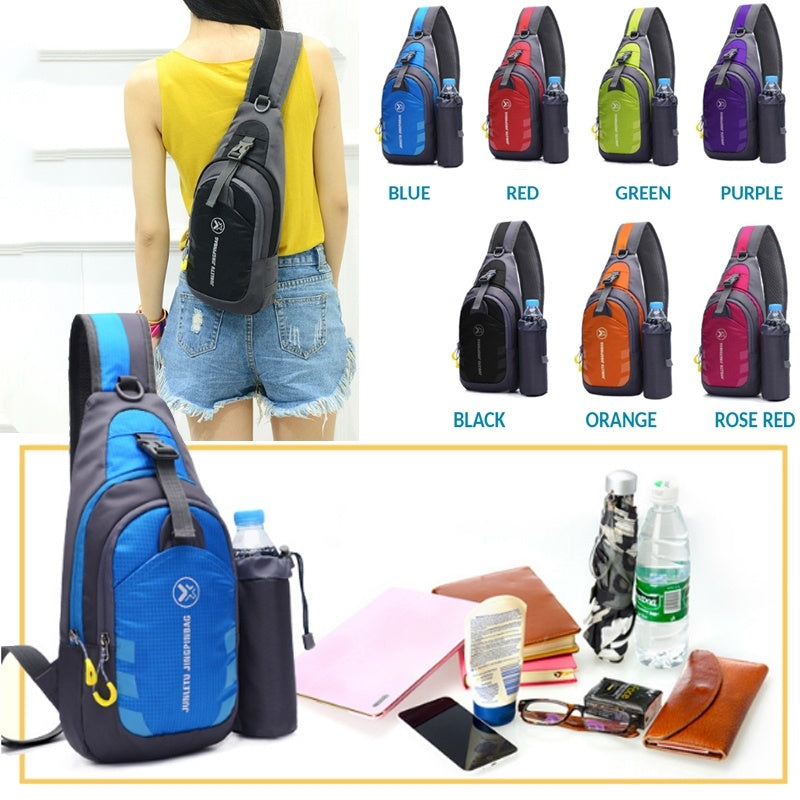 Sling Bag Travel Bag School Pack Chest Bag Hiking Bicycle Pouch With Water Bottle Pocket