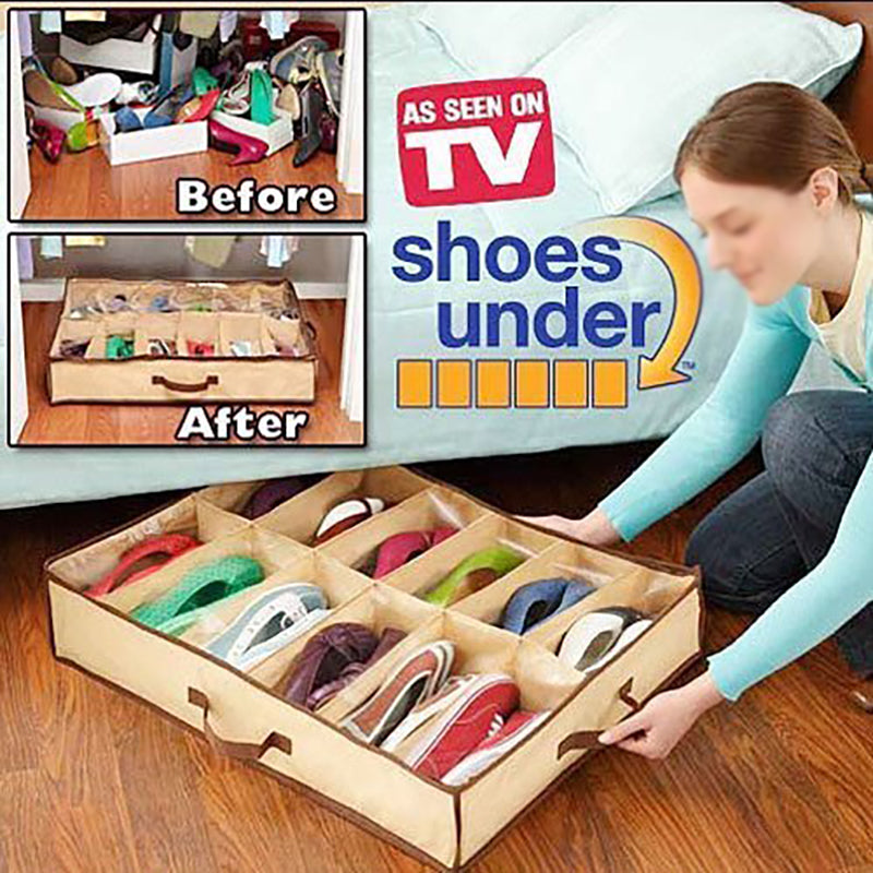 Under Bed 12 Cubes Shoes Storage Bags